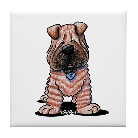 Shar Pei Caricature Tile Coaster