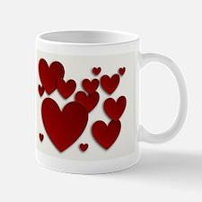 Red Three Dimensional Hearts Mugs