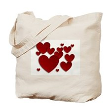 Red Three Dimensional Hearts Tote Bag