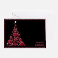 Red Glitter Christmas Tree - Seasons Greetings Gre