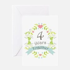 4th Anniversary flowers and hearts Greeting Card