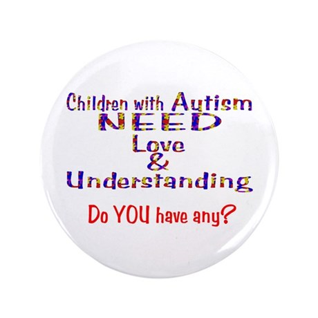 """3-Autism Needs Love N 3.5"""" Button"""