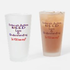 3-Autism Needs Love N Drinking Glass