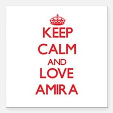 "Keep Calm and Love Amira Square Car Magnet 3"" x 3"""