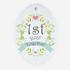 1st Year Marriage Ornament (Oval)
