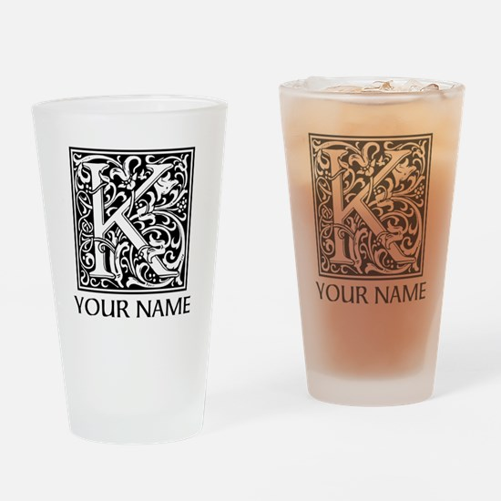 Custom Decorative Letter K Drinking Glass