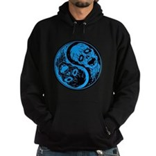 Blue and Black Yin Yang Zombies Hoodie