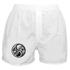 White and Black Yin Yang Zombies Boxer Shorts