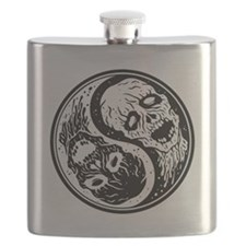 White and Black Yin Yang Zombies Flask