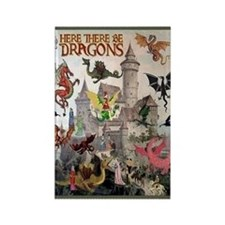 There Be Dragons Rectangle Magnet Magnets