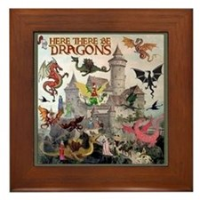 There Be Dragons Framed Tile