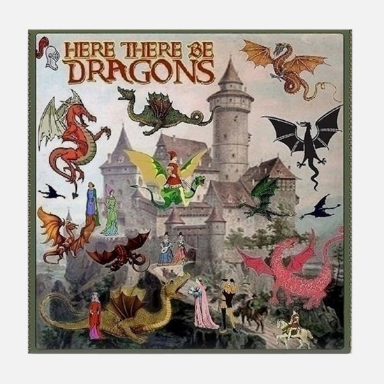 There Be Dragons Tile Coaster