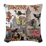 Here there be dragons Woven Pillows