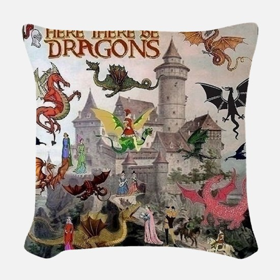 There Be Dragons Woven Throw Pillow