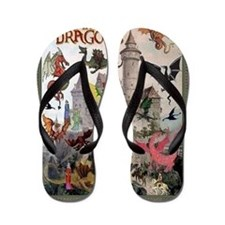 There Be Dragons Flip Flops