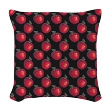Red Apples Black Woven Throw Pillow