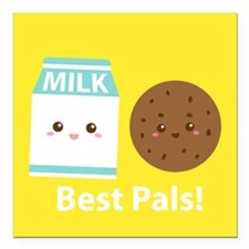 """Milk-and-cookies-cafepress Square Car Magnet 3"""" x"""