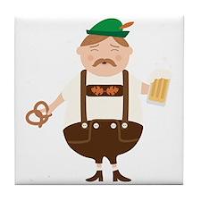 German Man Beer Germany Oktoberfest Tile Coaster
