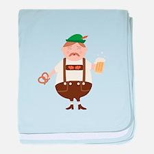 German Man Beer Germany Oktoberfest baby blanket