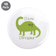 """D Is For Dinosaur 3.5"""" Button (10 pack)"""