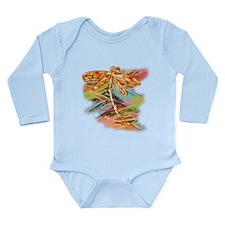 Orange Gold Dragonfly Splash Body Suit