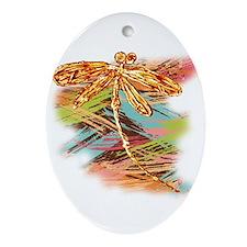 Orange Gold Dragonfly Splash Ornament (Oval)