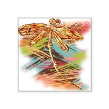 Orange Gold Dragonfly Splash Sticker