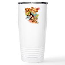 Orange Gold Dragonfly Splash Travel Mug