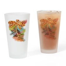 Orange Gold Dragonfly Splash Drinking Glass