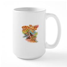 Orange Gold Dragonfly Splash Mugs