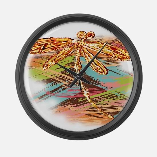 Orange Gold Dragonfly Splash Large Wall Clock