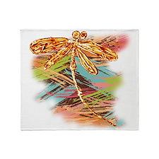 Orange Gold Dragonfly Splash Throw Blanket