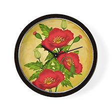 Red Poppy Bunch On Grunge Wall Clock