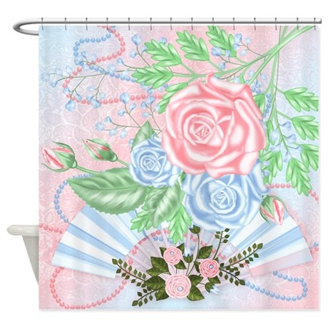 Pastel Pink And Blue Roses Shower Curtain By MoonlakeDesigns