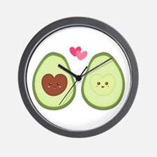 Cute Avocado in love, perfect other half Wall Cloc