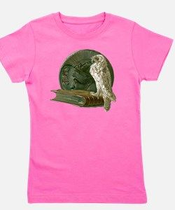 Vintage Owl with Book and Coin Girl's Tee