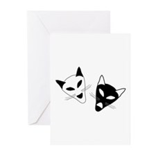 Cat Drama Masks - Greeting Cards (Pk of 20)