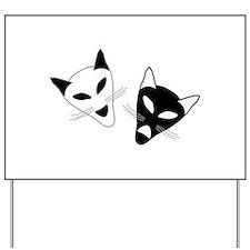 Cat Drama Masks - Yard Sign
