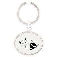 Cat Drama Masks - Oval Keychain