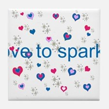 Cute Girly LOVE TO SPARKLE! Tile Coaster