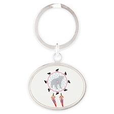 Black Bear Dream Catcher - Oval Keychain