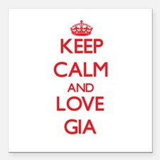 """Keep Calm and Love Gia Square Car Magnet 3"""" x 3"""""""