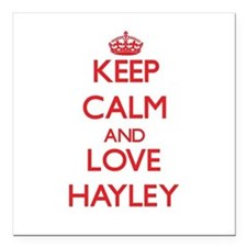 """Keep Calm and Love Hayley Square Car Magnet 3"""" x 3"""