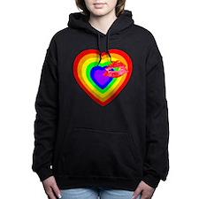 Rainbow Heart with a Kiss Hooded Sweatshirt