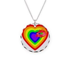 Rainbow Heart with a Kiss Necklace