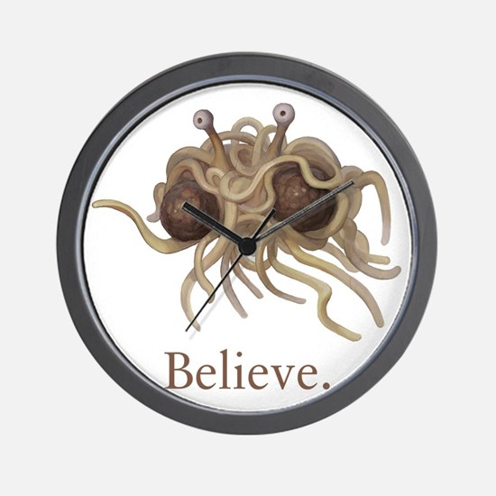 Flying Spaghetti Monster Believe Wall Clock