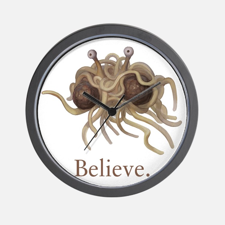 Flying Spaghetti Monster Believe Wall Clock