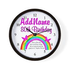 80TH RAINBOW Wall Clock