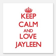 """Keep Calm and Love Jayleen Square Car Magnet 3"""" x"""
