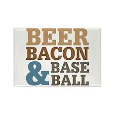 Beer Bacon Baseball Rectangle Magnet